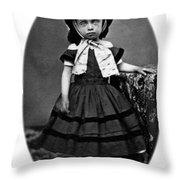 Portrait Headshot Girl In Bonnet 1880s Black Throw Pillow