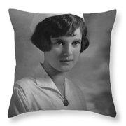 Portrait Headshot Nurse 1924 Black White 1920s Throw Pillow