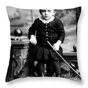Portrait Headshot Toddler Walking Stick 1880s Throw Pillow