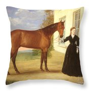 Portrait Of A Lady With Her Horse Throw Pillow by English School