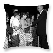 President Lyndon Johnson Shaking Childrens Hands Throw Pillow