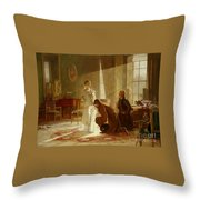 Queen Victoria Receiving News Throw Pillow