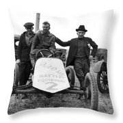 Race Car Team 1923 Black White 1920s Archive Throw Pillow