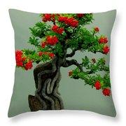 Red Berried Bonsai Throw Pillow