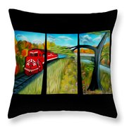 Red Train Passage Dreamy Mirage Throw Pillow