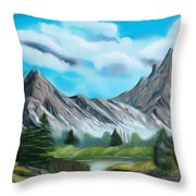Rocky Mountain Tranquil Escape Dreamy Mirage Throw Pillow