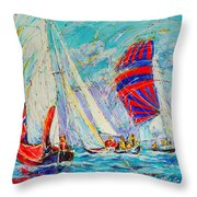 Sail Of Amsterdam II - Tree Sailboats  Throw Pillow