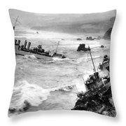Shipwreck In Rough Seas 1940s Black White Throw Pillow