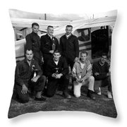 Skydiving Team Posing Airplane Circa 1960 Black Throw Pillow