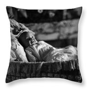 Smiling Baby In Bassinet 1910s Black White Boy Throw Pillow