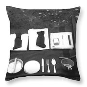 Soldiers Basic Gear 19171930 Black White 1910s Throw Pillow