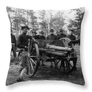 Soldiers Cannon 1898 Black White 1890s Archive Throw Pillow