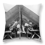 Soldiers Eating In Mess Tent 19061909 Black Throw Pillow