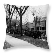 Soldiers In Wagons Road 19001910 Black White Throw Pillow