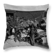 Soldiers Loading Cannon 19171918 Black White Throw Pillow