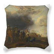 Soldiers Outside A Tented Camp Throw Pillow