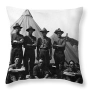 Soldiers Posing In Front Tents 19171918 Black Throw Pillow