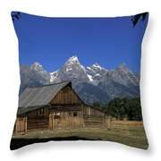 South Moulton Barn Grand Tetons Throw Pillow