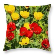 Spring Landscape With Tulips Throw Pillow