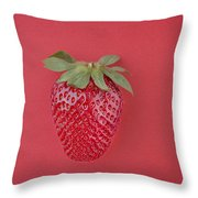Strawberry In Red I Throw Pillow