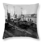 Submarines In Harbor Circa 1918 Black White Throw Pillow