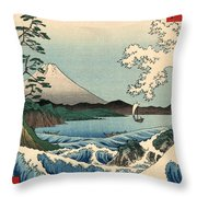 Suruga Satta No Kaijo - Sea At Satta In Suruga Province Throw Pillow