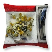 Table Settings At Time Of A Meal Throw Pillow
