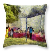 Tables At An Exhibition Throw Pillow