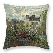 The Artist's Garden In Argenteuil  Throw Pillow