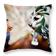The Boy And The Lion 2 Throw Pillow