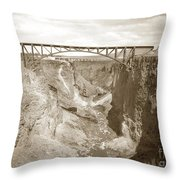 The Crooked River High Bridge Is A Steel Arch Bridge That Spans Oregon Built In 1926  Circa 1929 Throw Pillow