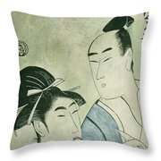 The Lovers Ochiyo And Handei  Throw Pillow