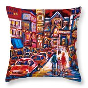 The Night Life On Crescent Street Throw Pillow