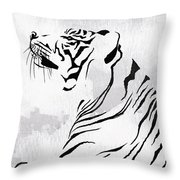 Tiger Animal Decorative Black And White Poster 3 - By Diana Van Throw Pillow