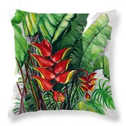 Tiger Claw .. Heliconia Throw Pillow