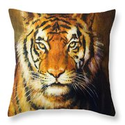 Tiger Head, Color Oil Painting On Canvas. Throw Pillow
