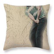 Tiger Woods Hits From A Access Road Throw Pillow