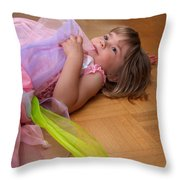 Tired Angel Throw Pillow