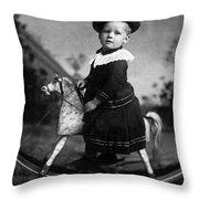 Toddler Rocking Horse 1890s Black White Archive Throw Pillow