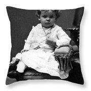 Toddler Sitting In Chair 1890s Black White Boy Throw Pillow