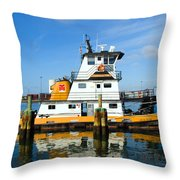 Tug Indian River Is Part Of The Scene At Port Canvaeral Florida Throw Pillow