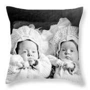 Twins In Baby Buggy 1910s Black White Archive Throw Pillow