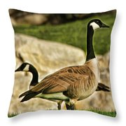 Two Geese Throw Pillow