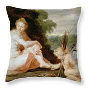 Venus And Cupid Warming Themselves  Throw Pillow