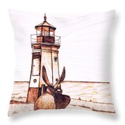 Vermilion Lighthouse Throw Pillow