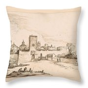 View Of A Walled Town Throw Pillow