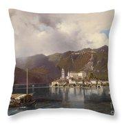 View Of Isola San Giulio In Lake Orta Throw Pillow