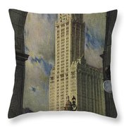 View Of The Woolworth Building Throw Pillow