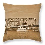 Vintage Swing Bridge In Sepia 2 Throw Pillow