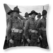 W Soldiers Standing Attention 19171918 Black Throw Pillow